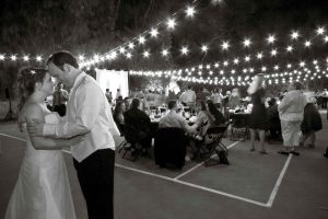 Bride and Groom take a moment to focus on each other at their wedding reception, Dealing with loss